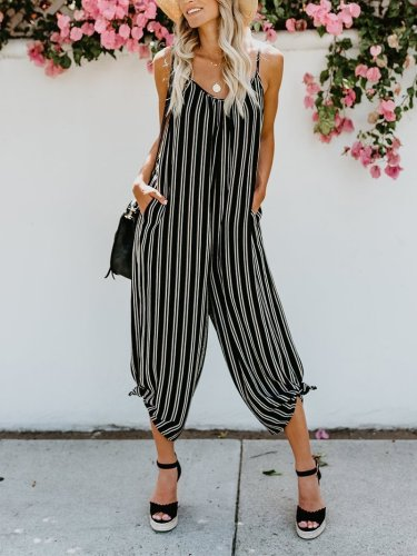 Fashion Sling Striped Broad Leg Sleeveless Jumpsuits