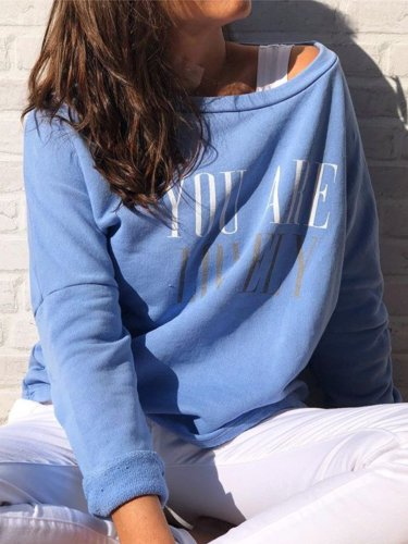 Plus Size Long Sleeve Letter Crew Neck Casual Tops