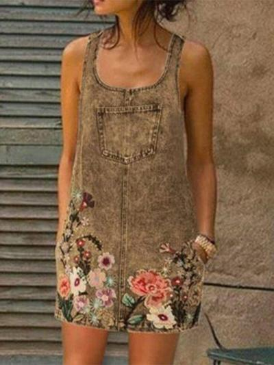 Casual Floral Sleeveless Shift One-Pieces