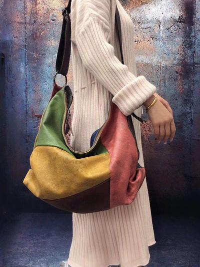 Vintage Manual Staining Genuine Leather Sling Bag