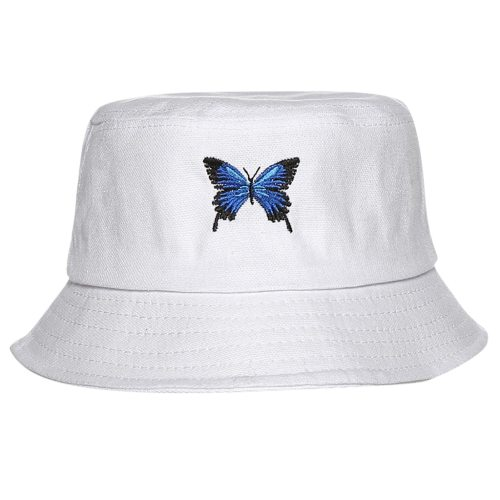 Butterfly Embroidery Women Bucket Hats Fashion Foldable Anti-sunburn Bucket Sun Hat Cap