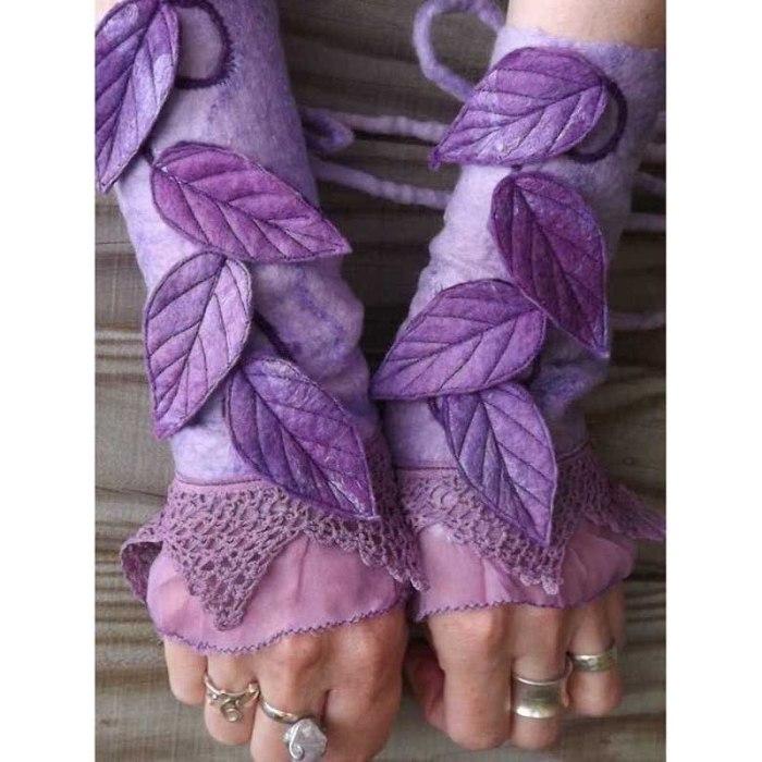 Christmas Gloves Women Sleeve Glove Women Flower Leaves Printed Gloves Lace Leather Gloves Fingerless Gloves Lady