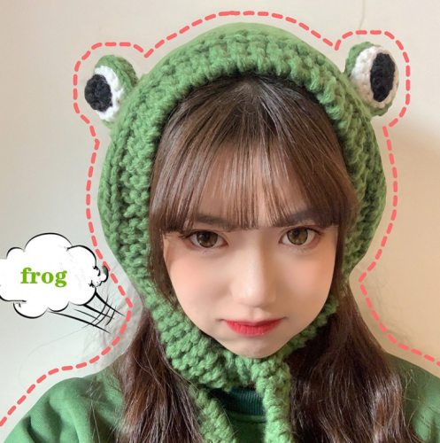 Winter Skullies Cute Women Frog Hat Crochet Knitted Hat Costume Beanie Hats Cap Party