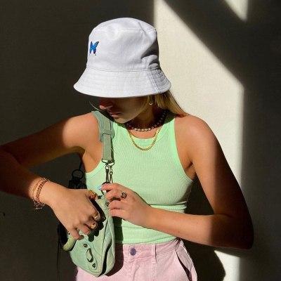 Butterfly Embroidery Women Bucket Hats Fashion Foldable Anti-sunburn Bucket Sun Hat Cap