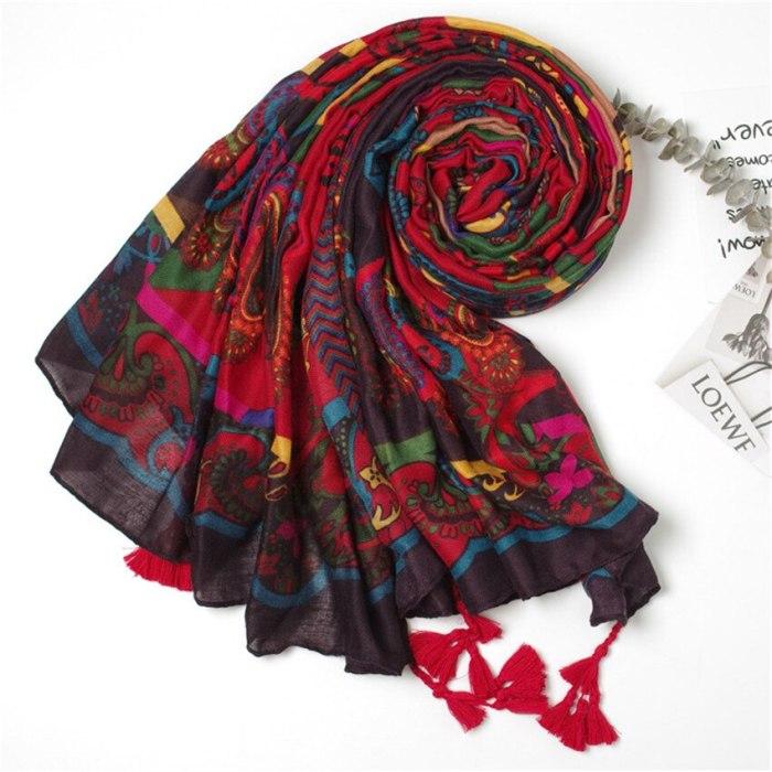 Women Fashion African Ethnic Cashew Viscose Shawl Scarf From Spain Long Echarpe Foulards Femme Bufandas Mujer Muslim Hijab Caps