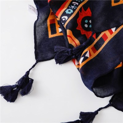 Autumn Winter Fashion African Ethnic Floral Tassel Viscose Shawl Scarf From Indian Women Print Warm Hijab and Wraps Muslim Sjaal