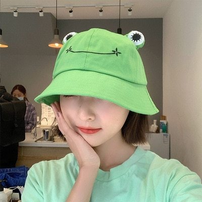 Fashion Frog Bucket Hat for Women Summer Autumn Plain Women Panama Outdoor Hiking Beach Fishing Cap Sunscreen Female Sunhat