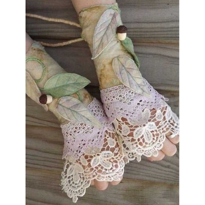 Christmas Gloves Women Sleeve Glove Women Flower Leaves Printed Gloves Lace Leather Gloves Fingerless Gloves Lady