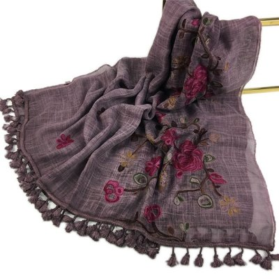 Autumn Winter Embroider Viscose Shawl Scarf with Pom Pom High Quality Warm Pashmina Stole Bandanas Mujer Muslim Hijab