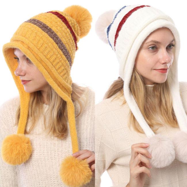 Hot Fashion Women's Hat Winter Fur Pom Pom Knit Beanie Ski Cap