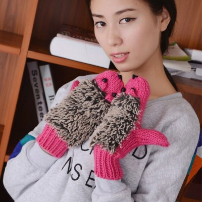 Winter Gloves for Women Knit Warm Fitness Gloves Hedgehog Heated Villus Wrist Mittens
