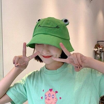 Fashion Frog Bucket Hat for Women Summer Autumn Plain Women Panama Outdoor Hiking Beach Fishing Cap Sunscreen Female Sunhat