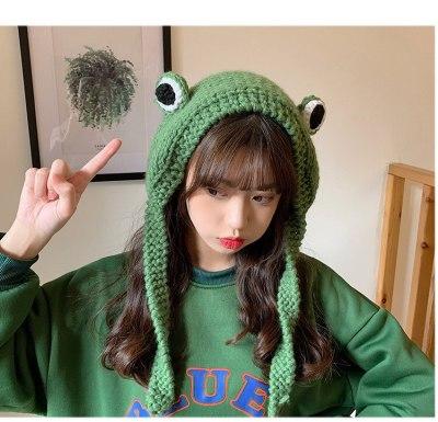 Winter Skullies Cute Women Frog Hat Crochet Knitted Hat Costume Beanie Hats Cap Party