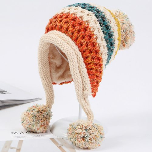 Winter Knitted Hats Women Patchwork Pompon Balls Earflap Caps Ladies Warm Thick Winter Beanies