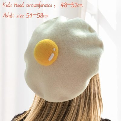 Women Cute Hats Yolk Handmade Wool Felt Painter Creativeberet Fashion Ladies Cap