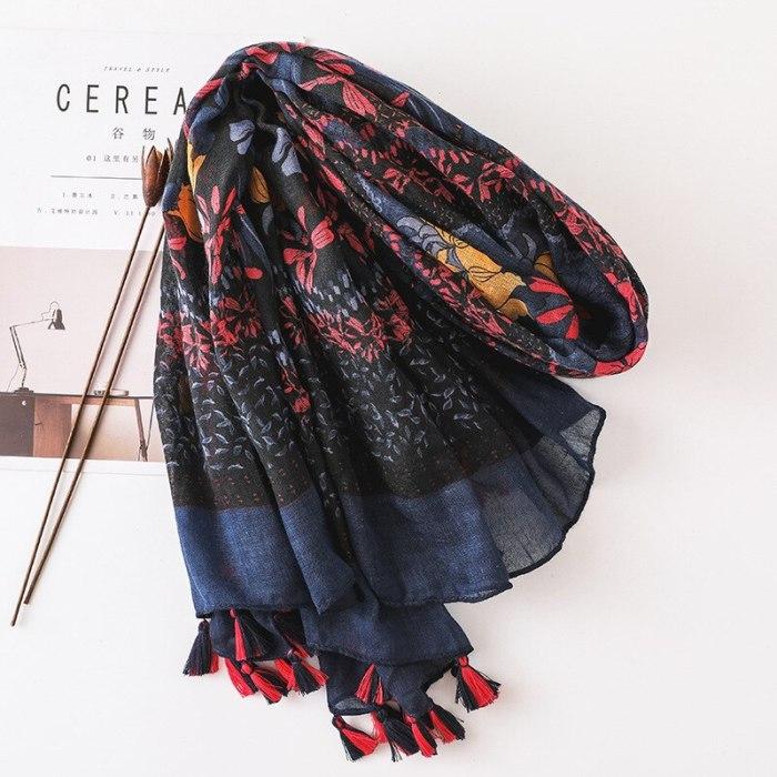 Women Fashion Small Polka Floral Tassel Viscose Shawl Scarf Print Voile Wrap Headband Bufandas Muslim Hijab Sjaal 130*130Cm