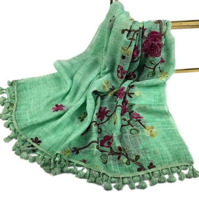 Autumn Winter Embroider Viscose Shawl Scarf with Pom Pom High Quality Warm Pashmina Stole Bandanas Mujer Muslim Hijab