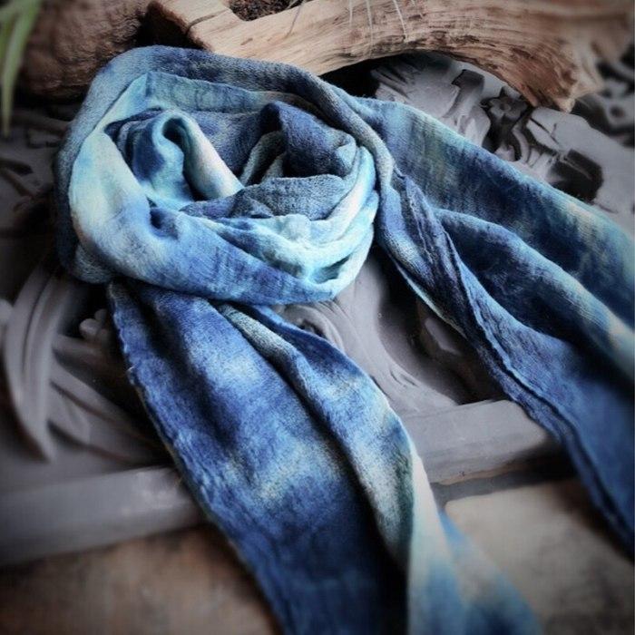 Autumn Women Original Tie Dye Blue Scarfs Winter New Vintage Loose Warm Women Cotton Scarf