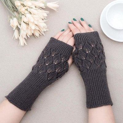 Winter Warm Fingerless Knitted Gloves For Women Acrylic Stretch Half Finger Arm Glove Crochet Knitting Faux Girls Mitten Gloves