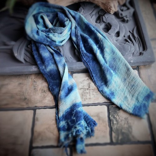 Autumn Women Original Tie Dye Blue Scarfs Winter New Vintage Loose Warm Women Cotton Scarf