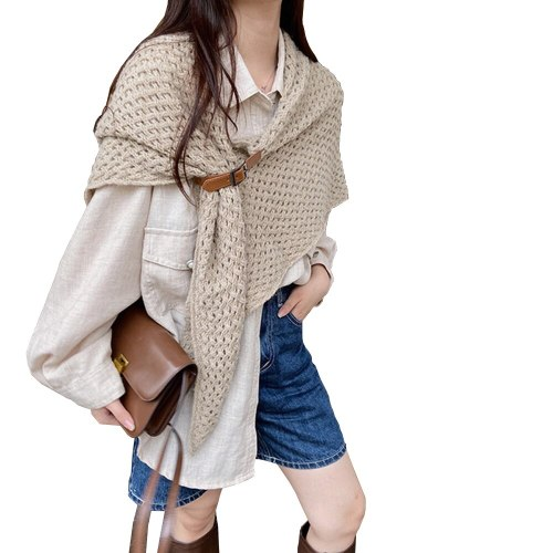 Winter Women Triangle Poncho Scarf Large Solid Knitted Belt Triangular Cape Shrugs Shawl Wraps Pashmina Femme Fular