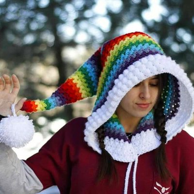 Women Winter Hats For Christmas Winter Thickening  Hat Crochet Rainbow Long Tail Knit Hat