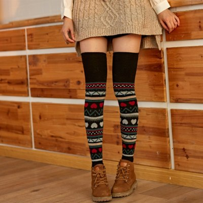 Printing Leg Warmers Girls Ladies Women Thigh High Over The Knee Socks Long Solid Stockings