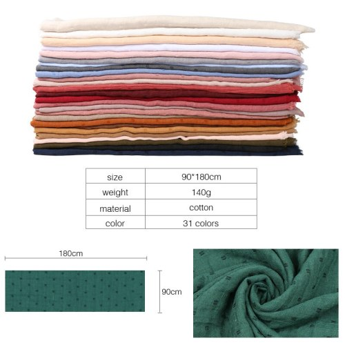 New Solid Color Single-color Cotton Muslim Head Hijab Scarf Shawls Women Black White Pleated Wrinkled Scarves Wraps