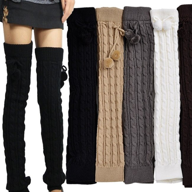 Girls Leg Warmers Winter Knit Long Socks