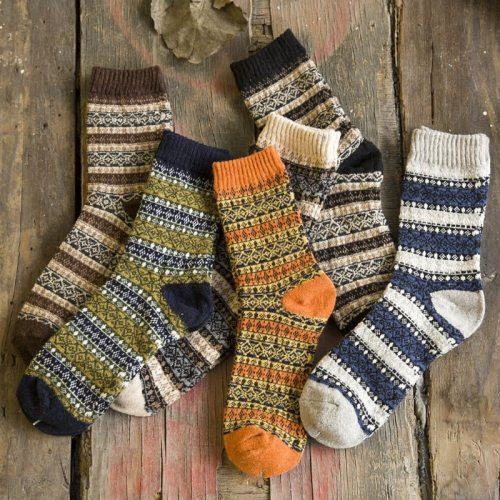 Winter Harajuku Retro Thicken Warm Fashion Cotton Wool Blended Casual Socks 1 Pair