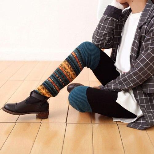 Fashion Women Winter Warm Long Leg Warmers Boot Knee High Knit Crochet Socks Boot Long Socks