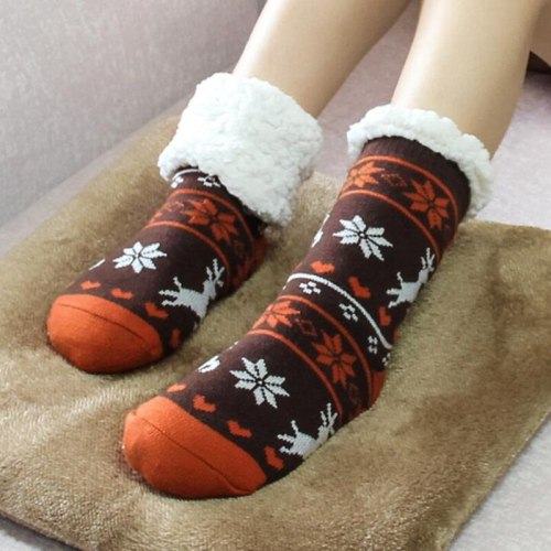 New Arrival Thermal Fleece Winter Slipper Socks Deer Warm Cozy Fuzzy Fleece-lined Knee Highs Winter Sock for Christmas Gift