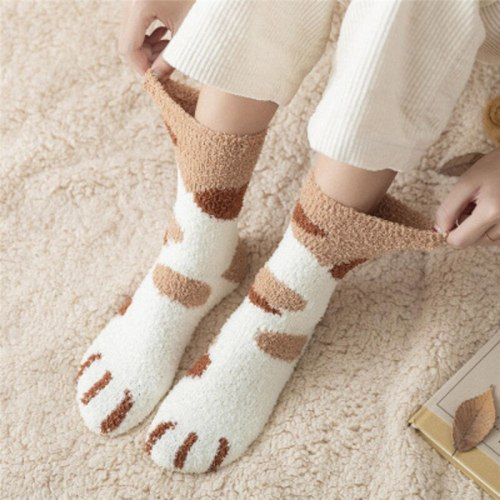 Coral Fleece Socks Female Tube Socks New Autumn And Winter Cat Claws Cute Thick Warm Sleeping Floor Sleep Socks