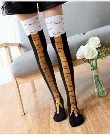 Winter Autumn Women 3D Print Socks Thigh High Sock Fashion Cute Ladies Thin Toe Feet Socks Cosplay