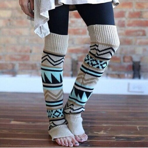 Fashion Leg Warmers Women Warm Knee High Winter Knit Solid Crochet Leg Warmer Socks Christmas