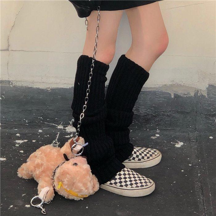 Solid Black Cool Knit Long Socks Women Outdoor Knee High Elastic Leg Warmers