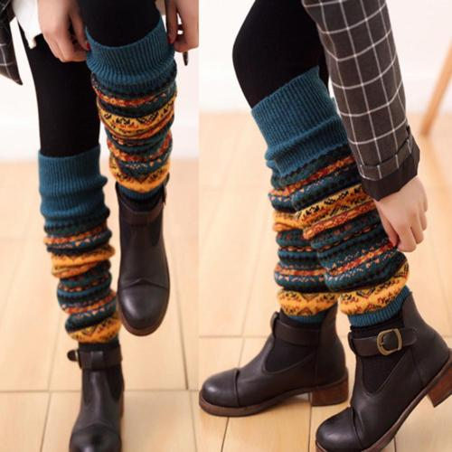 Fashion Women Winter Warm Long Leg Warmers Boot Knee High Knit Crochet Socks Boot Long Socks
