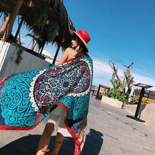Print Cotton Scarf For Women Long Tassel Soft Wraps and Shawls Beach Hijab