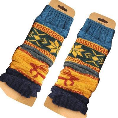 Fashion Leg Warmers Women Printed Embroidery Warm Knee Socks Warmer Warm Knit Socks Winter Cuffs High Long Leg Boot Crochet
