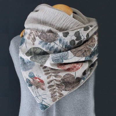 Women Casual Printing Scarf Fashion Retro Multi-purpose Shawl Button Scarf
