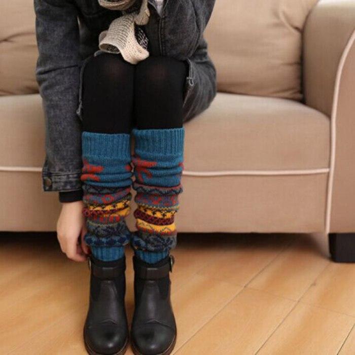 Winter Christmas Leg Warmers Knitted Reindeer Snowflake Women Leg Warmers Crochet High Long Socks Skarpetki