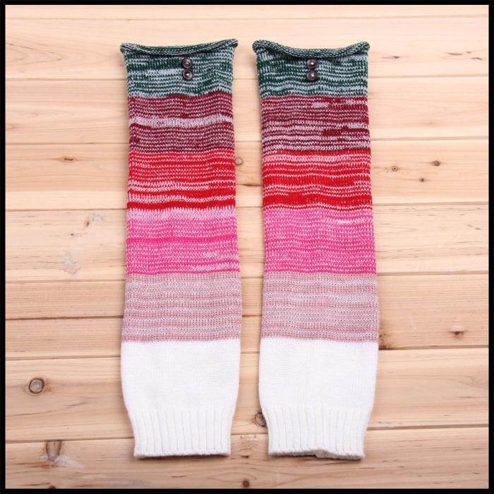Fashion Leg Warmers Women Warm Knee High Winter Knit Multicolor Crochet Leg Warmer Warm Boot Cuffs Long Socks