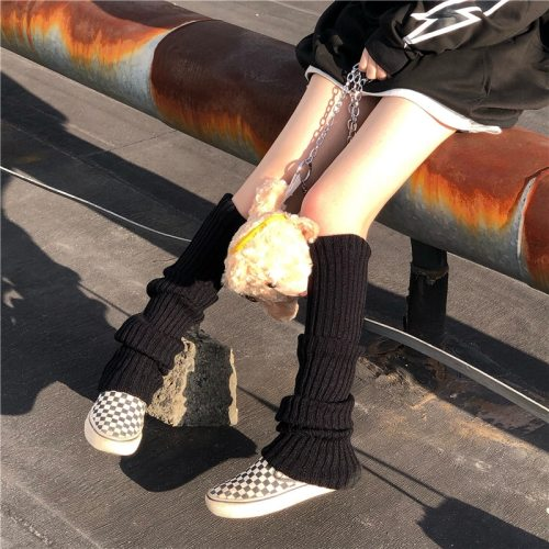 Solid Black Cool Knit Long Socks Women Outdoor Knee High Elastic Leg Warmers