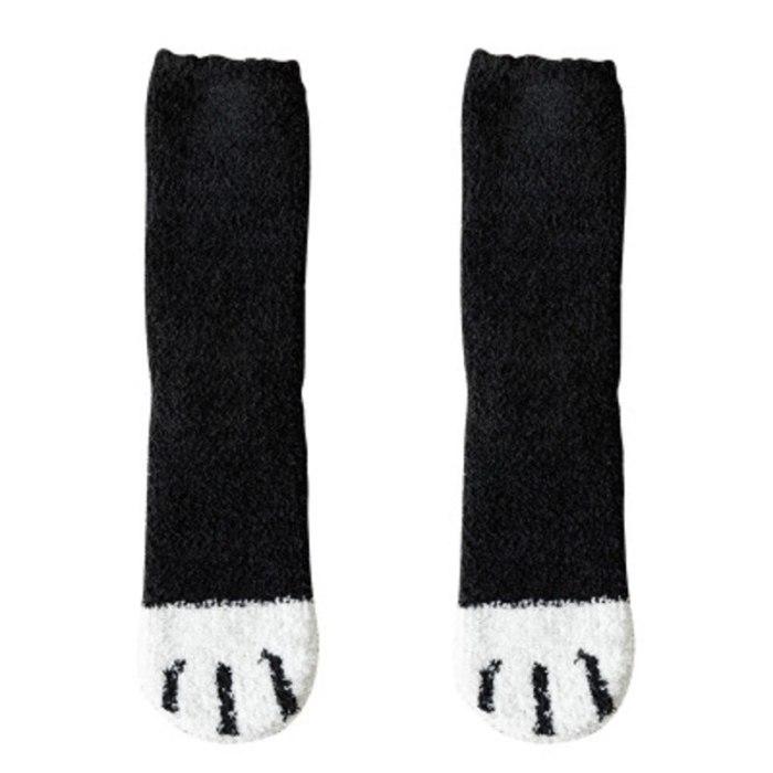 Coral Fleece Socks Female Tube Socks New Autumn And Winter Cat Claws Cute Thick Warm Sleeping Floor Sleep Socks