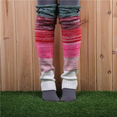 Fashion Leg Warmers Women Warm Knee High Winter Knit Multicolor Crochet Leg Warmer Warm Boot Cuffs Long Socks