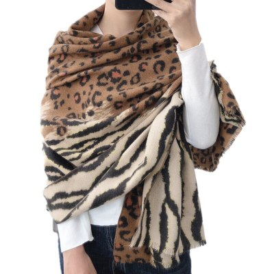 Patchwork Tiger Leopard Women Scarf Shawl Faux Cashmere Winter