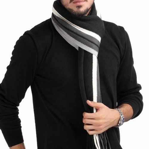 Winter Design Striped Scarf Men Shawls Scarves