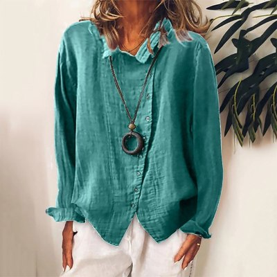 Fashion Cotton And Linen Blouse Women Casual Solid Buttons Long Sleeves Shirt Blouse