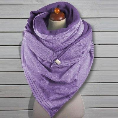 Women Printing Scarf Fashion Retro Multi-Purpose Shawl Button Scarf
