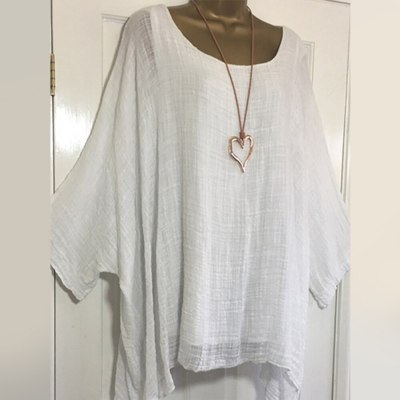 Blouses Batwing Sleeve Loose Tunic Casual O-Neck Long Sleeve Top